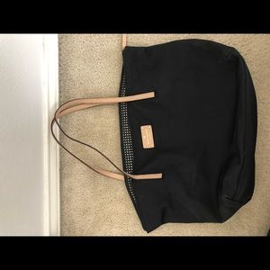 Black Kate Spade shoulder bag with nude straps